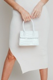 Hayley Hughes Modelled White Mini Croc Structured Cross Body Bag