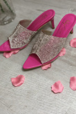 Hot Pink Diamante Pointed Toe Heels