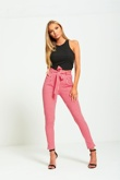 Hot Pink Striped High Waisted Tapered Trousers