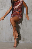 Brown Marble Print Slinky High Neck Ruched Bodycon Dress