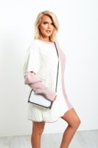 White And Pink Oversize Knitted Dress