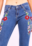 Blue Floral Embroidery Mid Rise Skinny Jeans