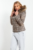 Brown Tiger Fur Hood Jacket
