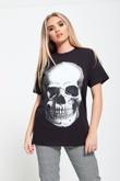 Black Glitter Skull Print Top