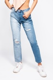 Blue Two Tone High Rise Ripped Mom Jeans