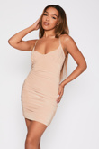 Beige Slinky Ruched Strappy Dress