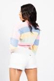 Pink Rainbow Pointelle Button Cardigan