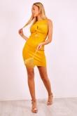 Mustard Cross Knot Front Ribbed Bodycon Mini Dress