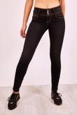 Black Corset High Waist Skinny Jeans