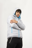Mens Grey Lightweight Padded Hooded Coat
