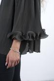 Khaki Off The Shoulder Contrast Frill Hem Blouse