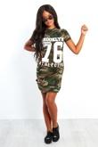 Khaki Camouflage 76 Printed Bodycon Dress