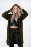 Khaki Hooded Cable Knit Longline Cardigan