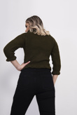 Khaki Frill Neck Knitted Jumper
