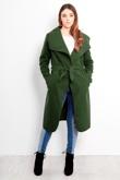 Khaki Tie Front Shawl Collar Coat