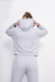 Light Grey Cropped Hoodie And Jogger Lounge Set