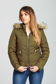 Khaki Fur Trimmed Hooded Puffer Jacket