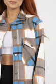 Blue Contrast Checked Longline Shacket