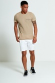 Mens Beige Textured T-Shirt
