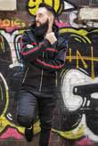 Mens Black Hooded tracksuit with Stripe Detail