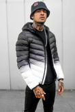 Mens Black Ombre Effect Gradient Print Puffer Jacket