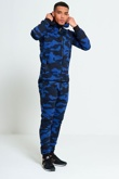 Mens Blue Camouflage Print Hooded Tracksuit