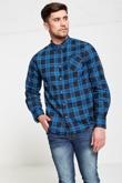 Mens Blue Checked Shirt