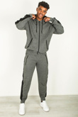 Mens Charcoal Marl Ribbed Contrast Stripe Tracksuit