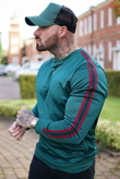 Mens Green Zipped Pocket Front Striped Sleeve Jumper