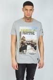 Mens Grey Roaring Festival Crew Neck T-Shirt