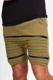 Mens Khaki Ribbed Zip Detail Shorts