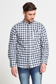 Mens Mandarin Blue Checked Shirt