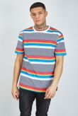 Mens Navy Multi Stripe Crew Neck T-Shirt