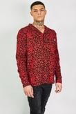 Mens Red Leopard Print Piping Detail Shirt