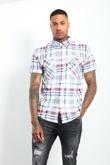 Mens Red Short Sleeve Plaid Shirt