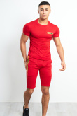 Mens Red T-Shirt And Shorts Set With Zip Placket Detail