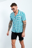 Mens Turquoise And White Striped Pocket Front Shirt