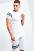 Mens White Crew Neck Shorts Set With Contrast Stripe