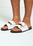 Mens White Double Strap Sandals