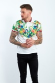 Mens White Rain Forest Print Polo Shirt