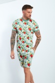 Mens White Tropical Printed T-shirt And Shorts Set