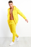 Mens Yellow Zip Through Piping Hooded Tracksuit