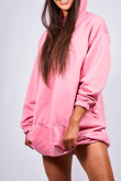 Pink Pocket Front Baggy Hood Jumper Dress