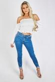 Mid Wash Frayed Hem Skinny Jeans