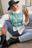 Mint Tweed Collar Shirt