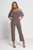 Mocha Cold Shoulder Frill Sleeve Jumpsuit