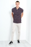 Mens Classic 3 Buttons Multi Stripe Polo Shirt
