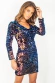 Multi Coloured Party Sequin Bodycon Dress