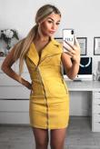 Mustard Collar Neck Full Zip Front Suede Mini Dress