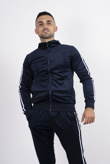 Mens Navy Velour White Stripe Tracksuit